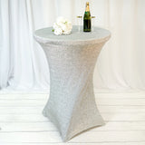 Silver Metallic Shiny Glittered Spandex Cocktail Table Cover