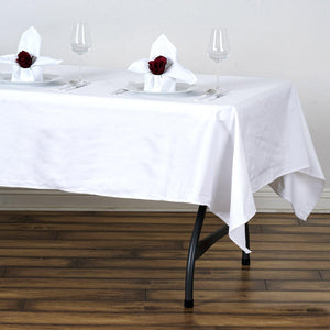 "60x102"" Rectangle Chambury Casa 100% Cotton Tablecloth For Wedding Party Decoration - White"