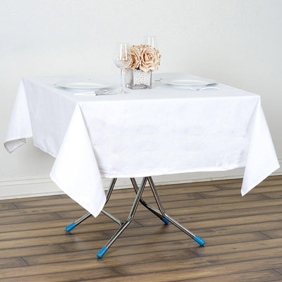 "60"" White Square Chambury Casa 100% Cotton Tablecloth"