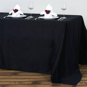 "90x132"" Rectangle Chambury Casa 100% Cotton Tablecloth For Wedding Party Decoration - Black"