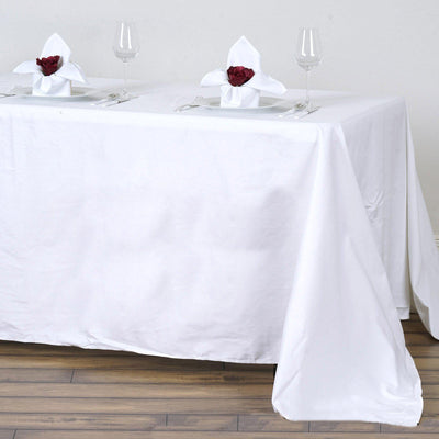 "90x132"" White Rectangle Chambury Casa 100% Cotton Tablecloth"