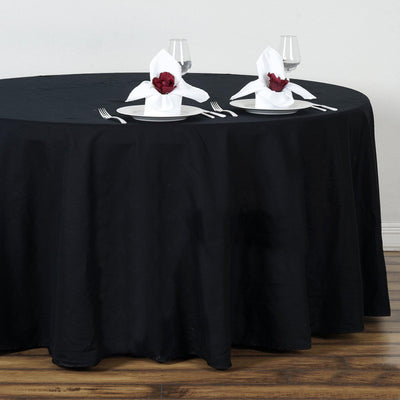 "108"" Black Round Chambury Casa 100% Cotton Tablecloth"