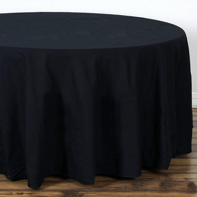 "120"" Seamless Premium BLACK Wholesale Polyester Round Tablecloth For Wedding Banquet Restaurant"