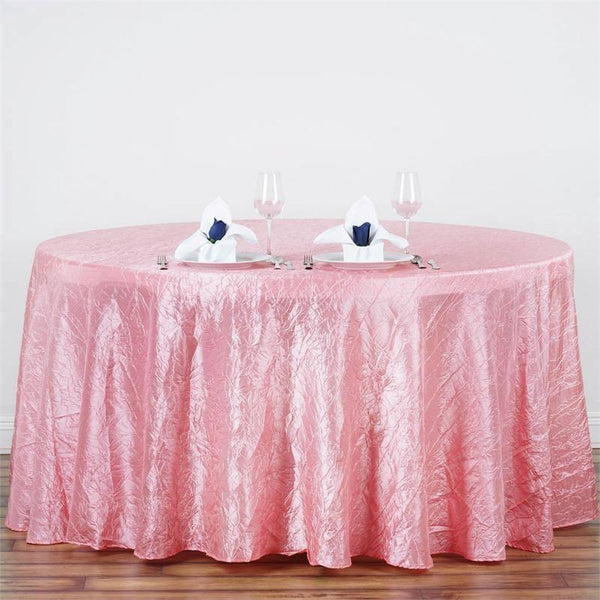 "117"" Rose Quartz Crinkle Crushed Taffeta Round Tablecloth"