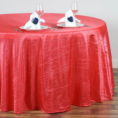 "117"" Coral Crinkle Crushed Taffeta Round Tablecloth"