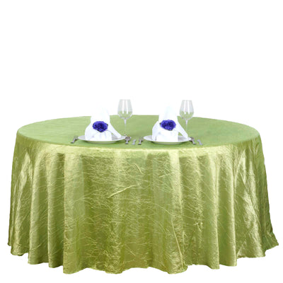 117 inches Apple Green Crinkle Crushed Taffeta Round Tablecloth#whtbkgd