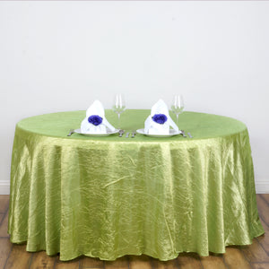 117 inches Apple Green Crinkle Crushed Taffeta Round Tablecloth