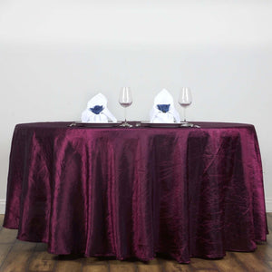 "Burgundy 117"" Crinkle Taffeta Round Tablecloth"