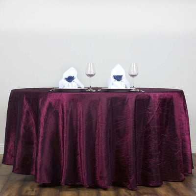 "117"" Burgundy Crinkle Crushed Taffeta Round Tablecloth"