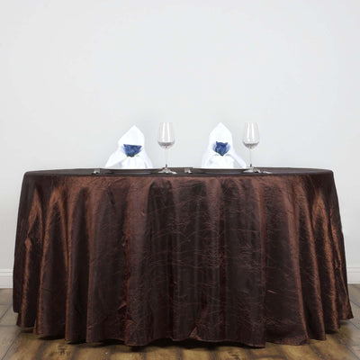 "Chocolate 117"" Crinkle Taffeta Round Tablecloth"