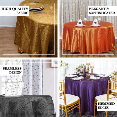 "117"" Orange Crinkle Crushed Taffeta Round Tablecloth - Clearance SALE"