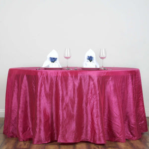 "117"" Fushia Crinkle Crushed Taffeta Round Tablecloth"