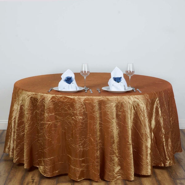 "117"" Gold Crinkle Crushed Taffeta Round Tablecloth - Clearance SALE"
