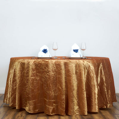 117 inch Gold Crinkle Crushed Taffeta Round Tablecloth