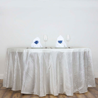 "117"" Ivory Crinkle Crushed Taffeta Round Tablecloth"