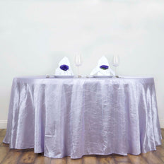 "117"" Lavender Crinkle Crushed Taffeta Round Tablecloth"