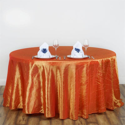 "117"" Orange Crinkle Crushed Taffeta Round Tablecloth"