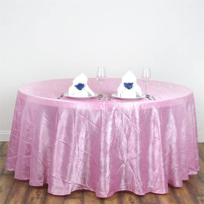 "117"" Pink Crinkle Crushed Taffeta Round Tablecloth"