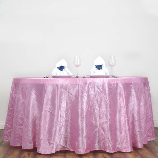 "117"" Pink Crinkle Crushed Taffeta Round Tablecloth - Clearance SALE"