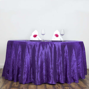 "117"" Purple Crinkle Crushed Taffeta Round Tablecloth"