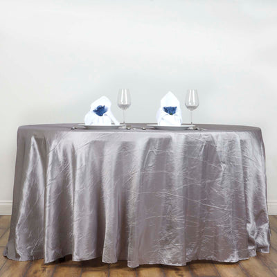 "117"" Silver Crinkle Crushed Taffeta Round Tablecloth"