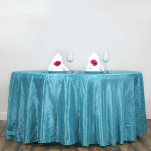 "Turquoise 117"" Crinkle Taffeta Round Tablecloth"