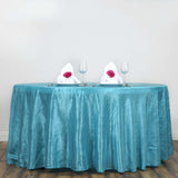"117"" Turquoise Crinkle Crushed Taffeta Round Tablecloth"