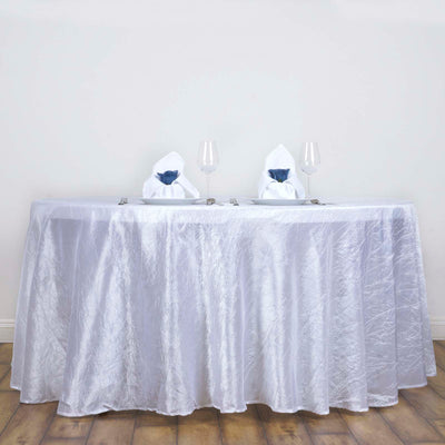 "117"" White Crinkle Crushed Taffeta Round Tablecloth"