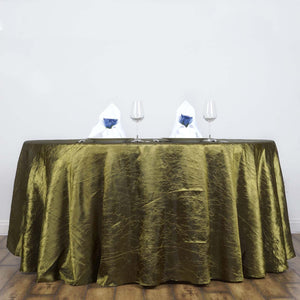 "Willow Green 117"" Crinkle Taffeta Round Tablecloth"