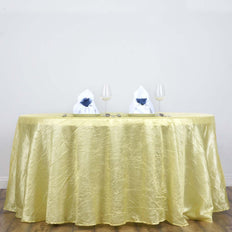 "117"" Yellow Crinkle Crushed Taffeta Round Tablecloth"