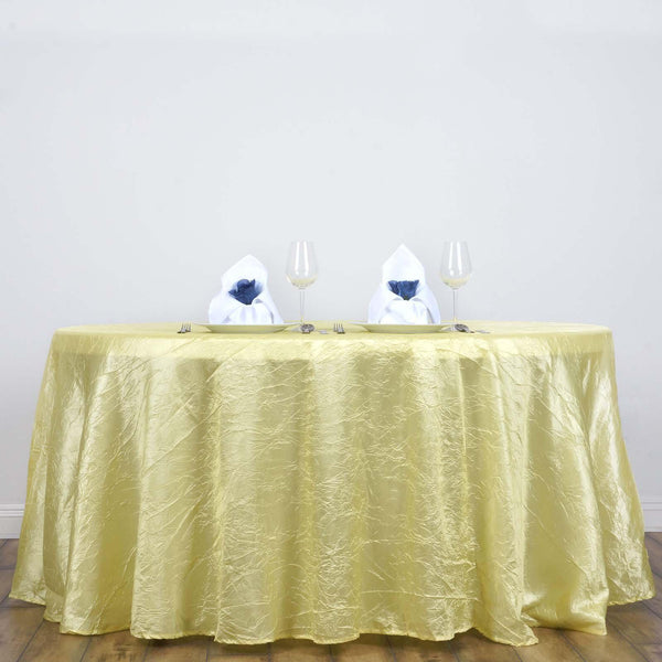 "117"" Yellow Crinkle Crushed Taffeta Round Tablecloth - Clearance SALE"