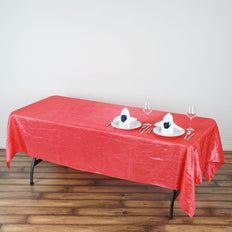 60x102 Coral Crinkle Taffeta Rectangular Tablecloth