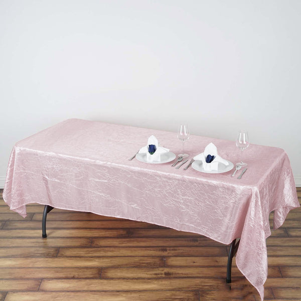 "60""x102"" Crinkle Crushed Taffeta Rectangular Tablecloth - Rose Gold 