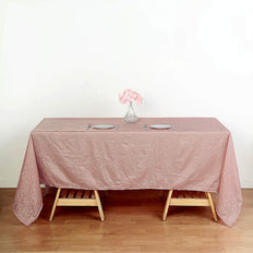 60x102 Dusty Rose Crinkle Crushed Taffeta Rectangular Tablecloth