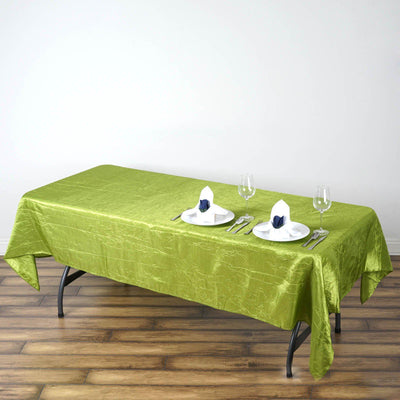 "60x102"" Apple Green Crinkle Taffeta Tablecloth For Catering Wedding Party Decorations"