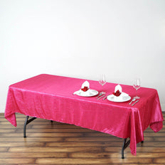 60x102 Fushia Crinkle Crushed Taffeta Rectangular Tablecloth