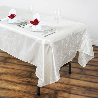 60x102 Ivory Crinkle Crushed Taffeta Rectangular Tablecloth