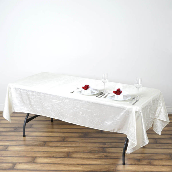 "60""x102"" Ivory Crinkle Crushed Taffeta Rectangular Tablecloth - Clearance SALE"