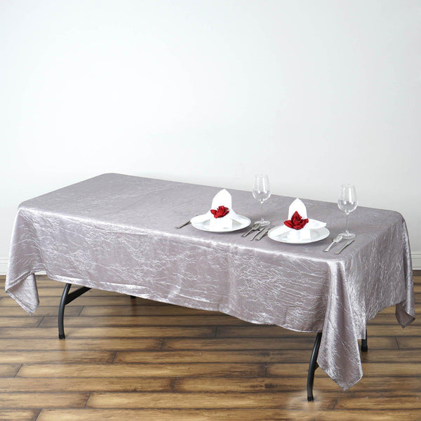 "60""x102"" Silver Crinkle Crushed Taffeta Rectangular Tablecloth - Clearance SALE"