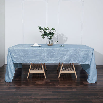 Dusty Blue Crinkle Crushed Taffeta Rectangular Tablecloth | TableclothsFactory