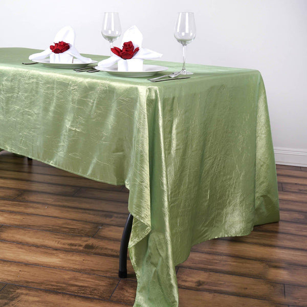 "60""x126"" Apple Green Crinkle Crushed Taffeta Rectangular Tablecloth - Clearance SALE"