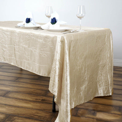 "60""x126"" Champagne Crinkle Crushed Taffeta Rectangular Tablecloth - Clearance SALE"
