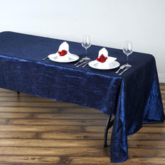60x126 Navy Blue Crinkle Crushed Taffeta Rectangular Tablecloth