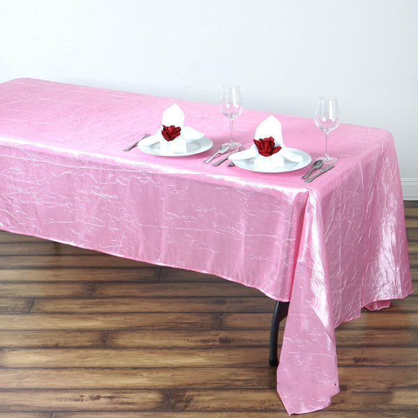"60""x126"" Pink Crinkle Crushed Taffeta Rectangular Tablecloth - Clearance SALE"