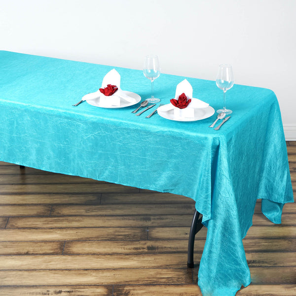 "60""x126"" Turquoise Crinkle Crushed Taffeta Rectangular Tablecloth - Clearance SALE"