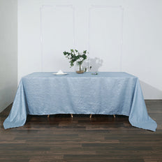 90x132 Dusty Blue Crinkle Crushed Taffeta Rectangular Tablecloth