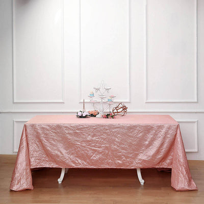 90x156 Dusty Rose Crinkle Crushed Taffeta Rectangular Tablecloth