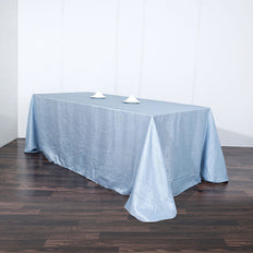 Dusty Blue Crinkle Crushed Taffeta Rectangular Tablecloth