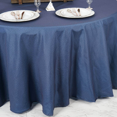 "120"" Premium Dark Blue Faux Denim Polyester Round Tablecloth"
