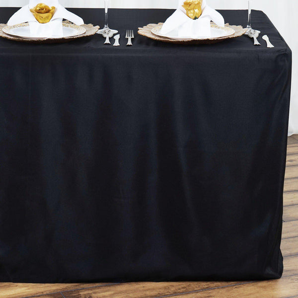 4FT Black Premium Fitted Polyester Rectangular Table Cover
